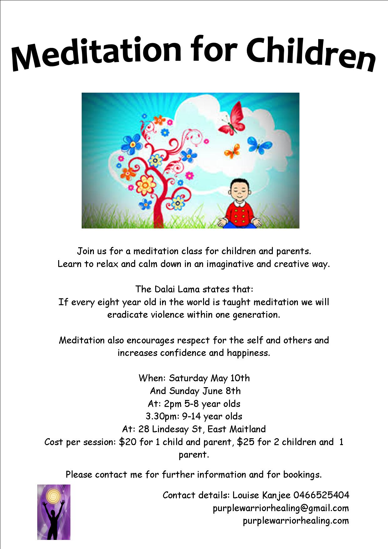children meditation flyer