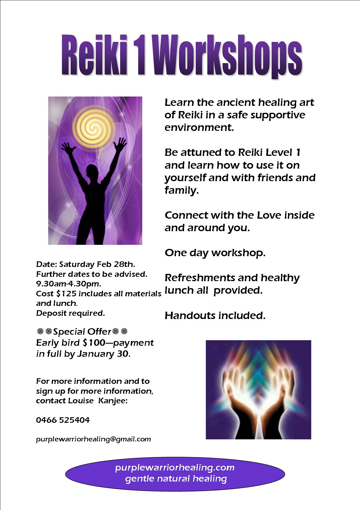 reiki 1 workshop flyer